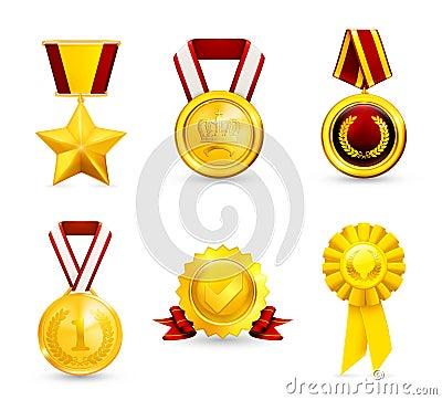 Gold medal, set