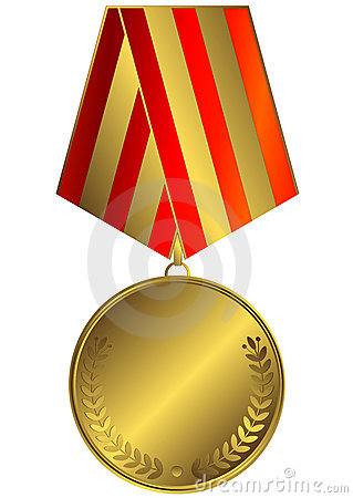 Gold medal with striped ribbon