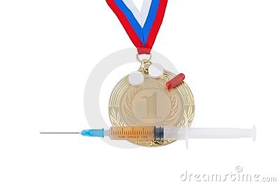Gold medal and syringe isolated