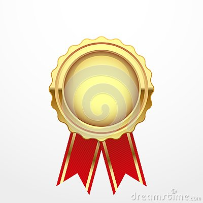 Free Gold Medal With Red Ribbon Stock Photography - 102549852