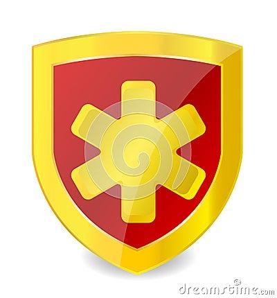 Gold medical symbol in emblem