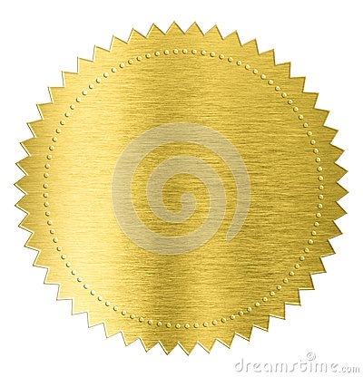 Free Gold Metal Foil Sticker Seal Label Isolated With Stock Images - 54209214