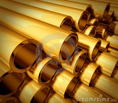 Gold metal pipes