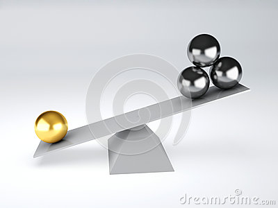 Gold and metal spheres in white seesaw. Balance concept