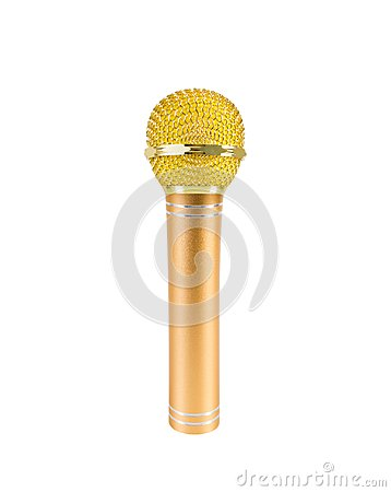 Free Gold Microphone Isolated On White Background Stock Images - 114295644