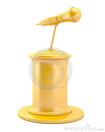 Gold microphone on pedestal