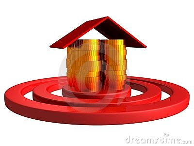 Gold money coins house as a center of red target