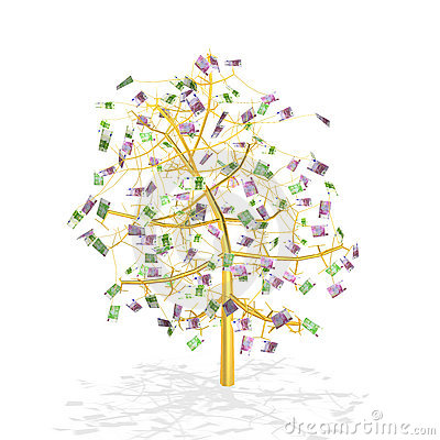 Gold money tree (detailed)