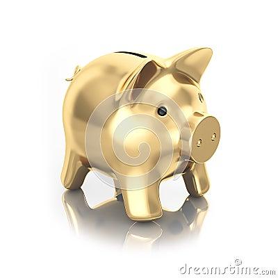 Gold moneybox piggy