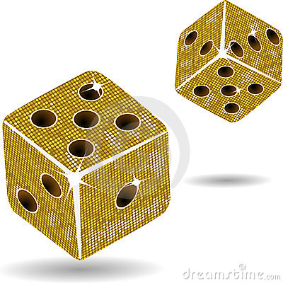 Free Gold Mosaic Dice And Shadows Stock Photography - 20242942