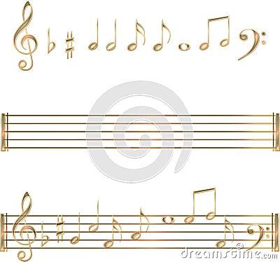 Gold musical notes symbols set