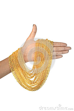 Free Gold Necklace On Hand Stock Photo - 69245740