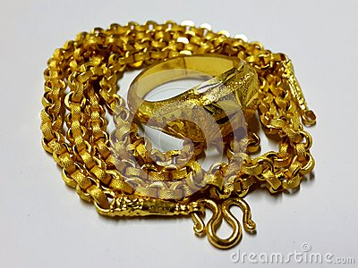 Gold necklace and ring