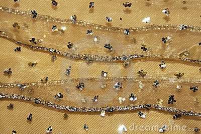 Gold netting fabric decor