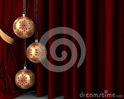 Gold New Year s balls in front of red drapery