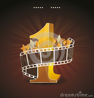 Free Gold Number 1 With Twisted Filmstrip And Glass Sta Royalty Free Stock Images - 37378249