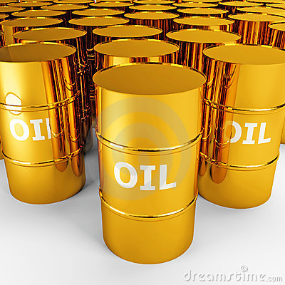 Free Gold Oil Barrels Stock Photography - 5913492