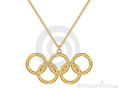 Gold olympic rings pendant on chain Editorial Photography