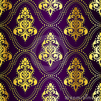 Free Gold-on-Purple Seamless Indian Pattern With Dots Royalty Free Stock Photos - 7812048