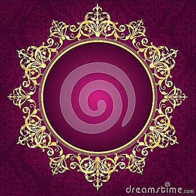 Gold ornamental frame on pinkdamask pattern invita