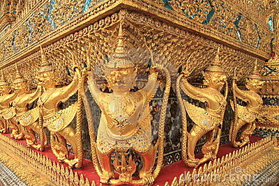 Gold ornamental patter statuettes