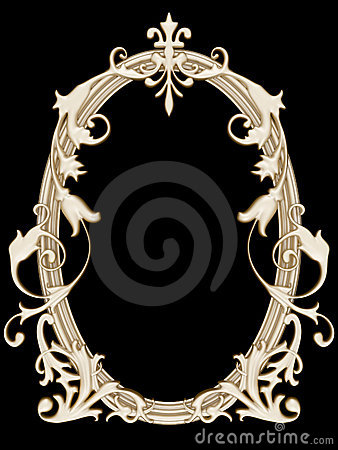 Gold ornamented picture round frame isolated