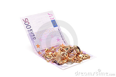 Gold ornaments and euro