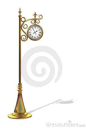 Free Gold Outdoor Clock Royalty Free Stock Images - 9595399