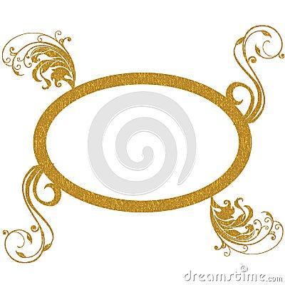 Gold oval frame decorative patterns