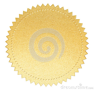 Gold paper seal label with isolated clipping path