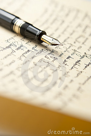 Free Gold Pen With Letter And Writing Stock Photos - 12297983