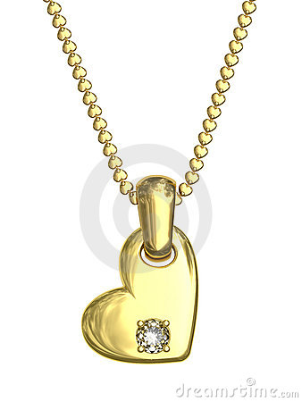 Gold pendant in shape of heart with diamond