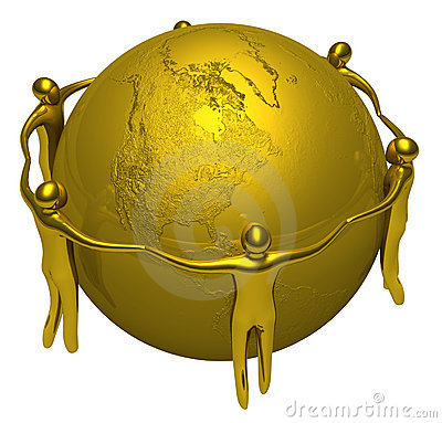 Gold people around of the Earth