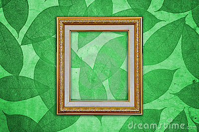 Gold Picture Frame on Green Leaves Pattern