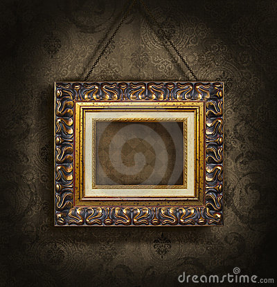 Free Gold Picture Frame On Antique Wallpaper Royalty Free Stock Photo - 6803855