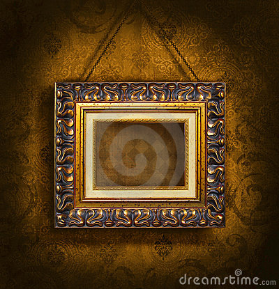 Free Gold Picture Frame On Antique Wallpaper Royalty Free Stock Photography - 6803857