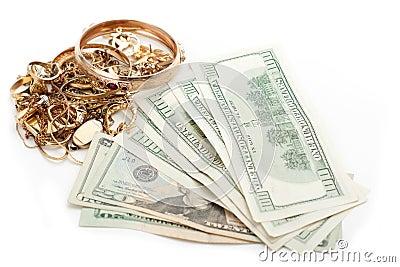 Gold pile scrap and cash dollar