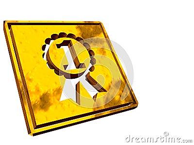 Gold plate, winner, victory.