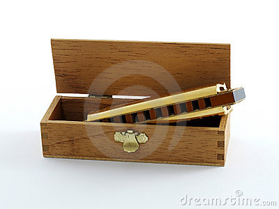 Gold plated Harmonica in box