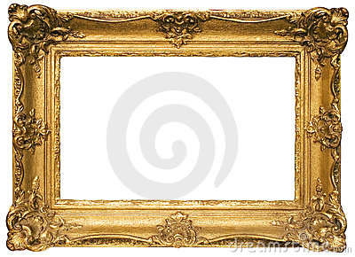Gold Plated Wooden Picture Frame w/ Path Stock Photo
