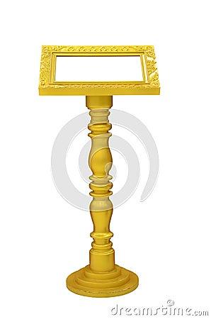 Gold podium isolated on white