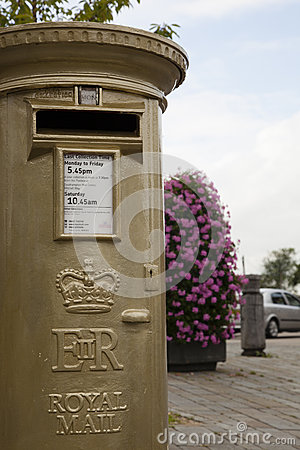 Gold Post Box Editorial Photo