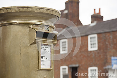 Gold Post Box Editorial Stock Photo