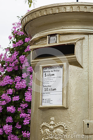 Gold Post Box Editorial Stock Image