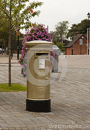 Gold Post Box Editorial Image