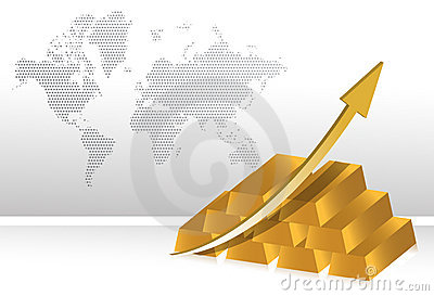 Gold prices increase illustration