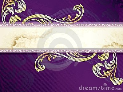 Gold and purple horizontal Victorian banner
