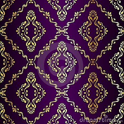 Gold-on-Purple seamless swirly Indian pattern