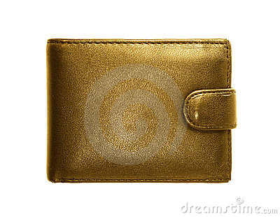 Gold purse on a white background