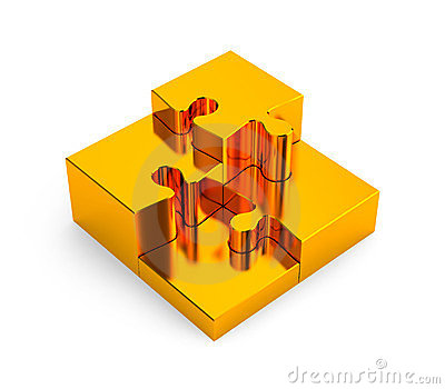 Gold puzzles. Image contain clipping path